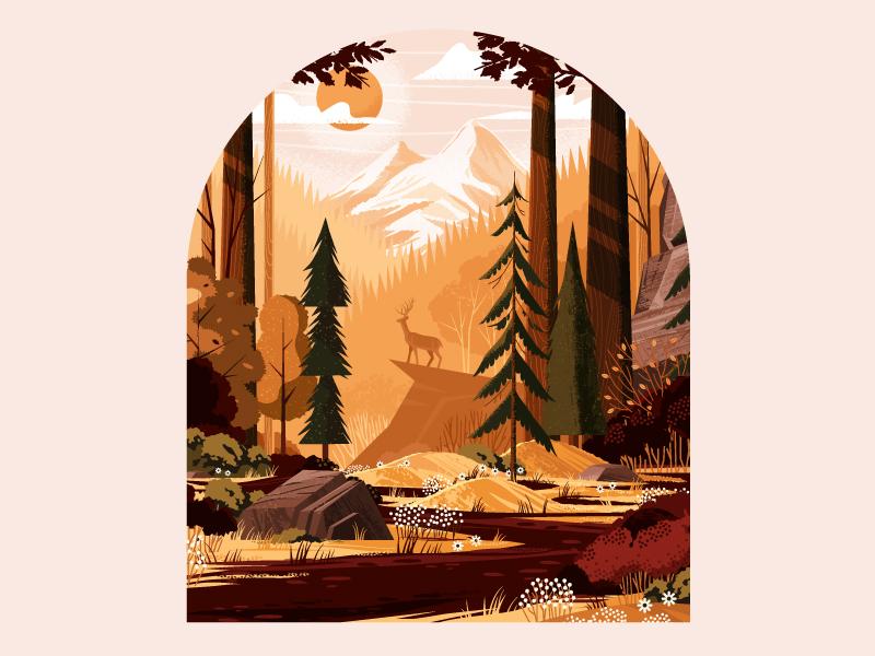 landscape autumn illustration