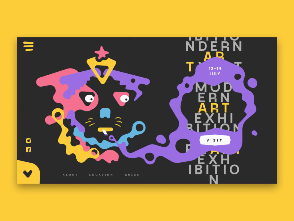 art exhibition landing page