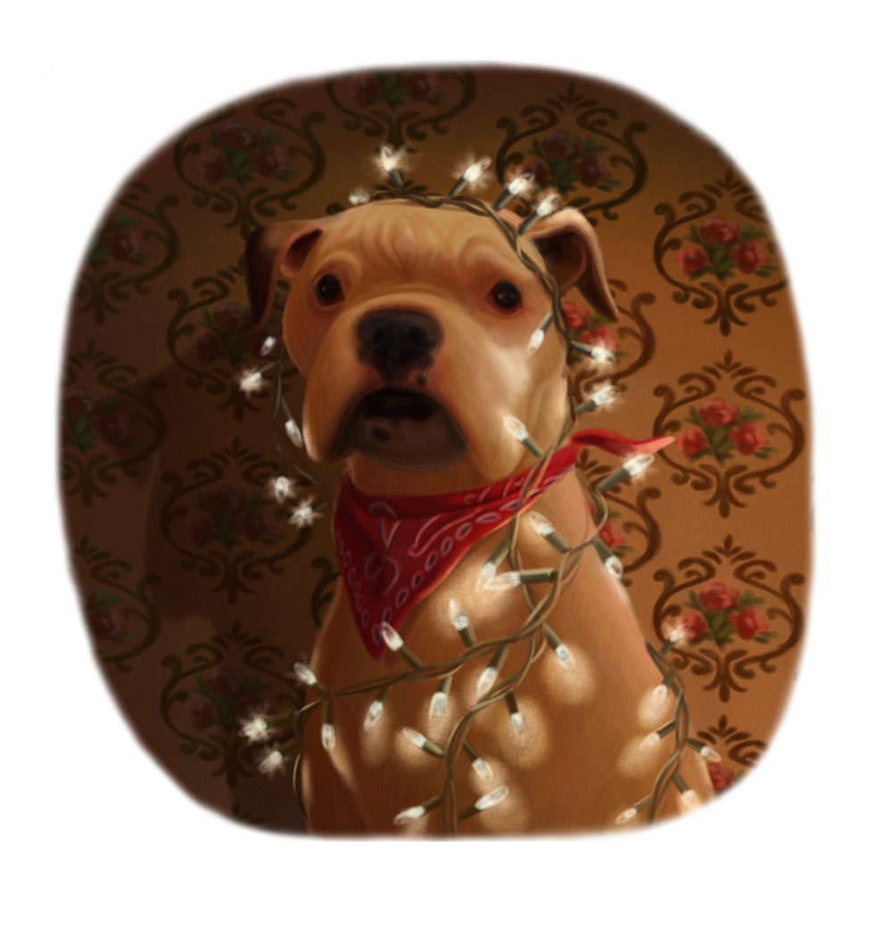 christmas dog illustration