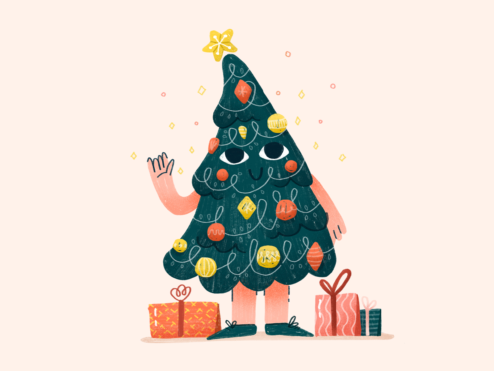 christmas tree digital illustration