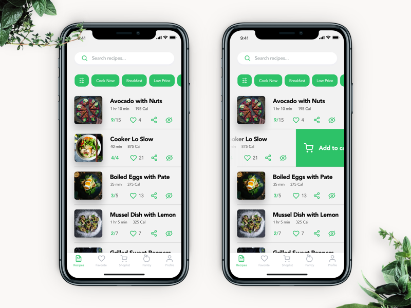 food recipe app design