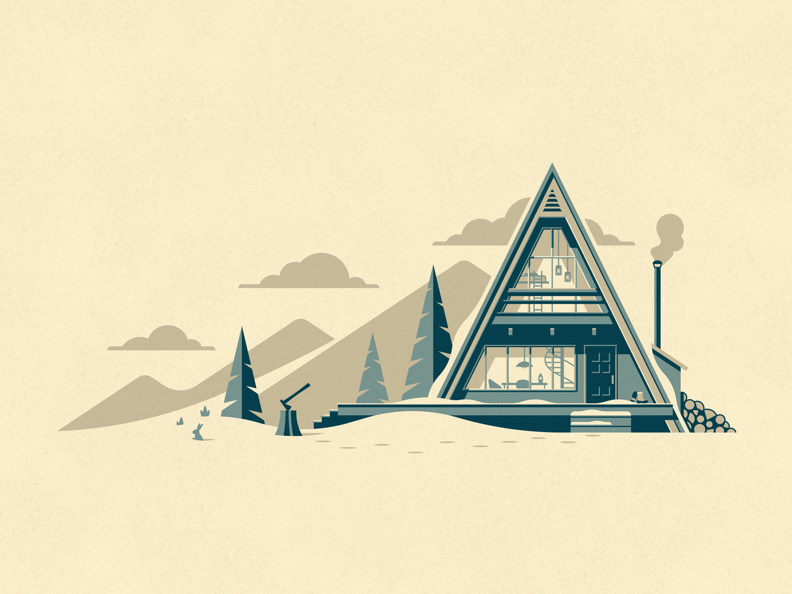 winter cabin illustration