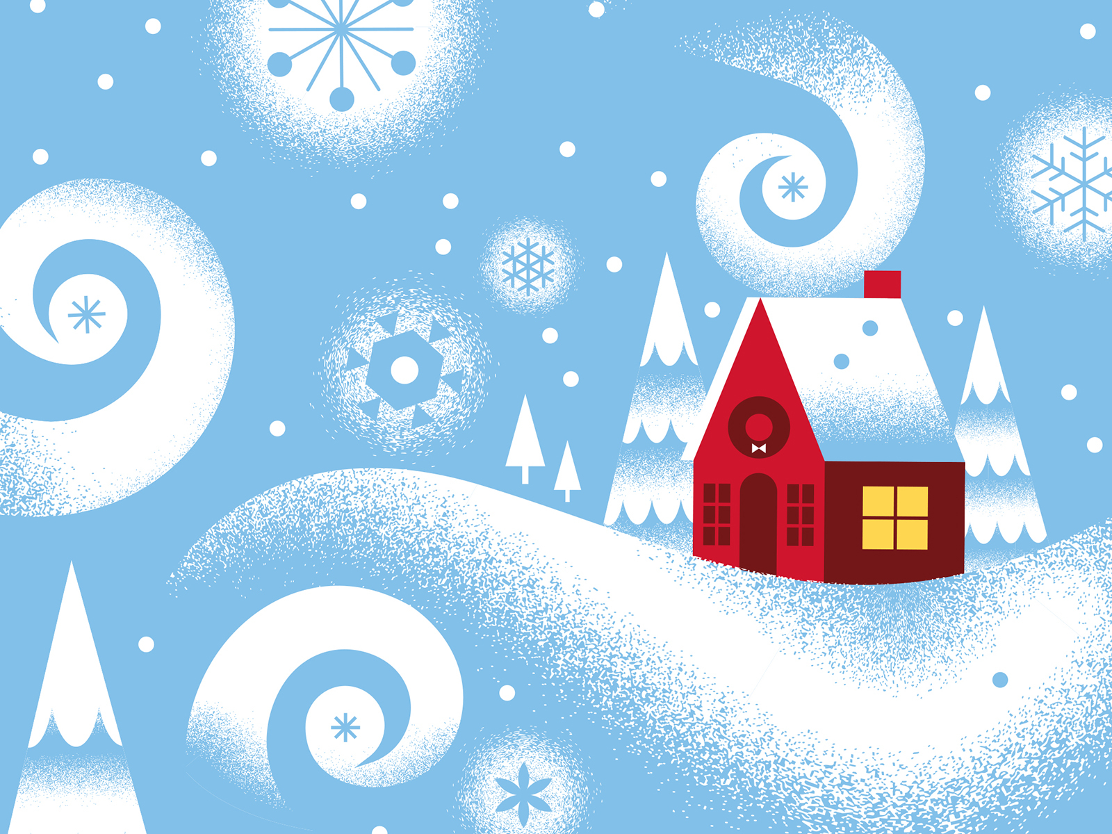 winter house illustration