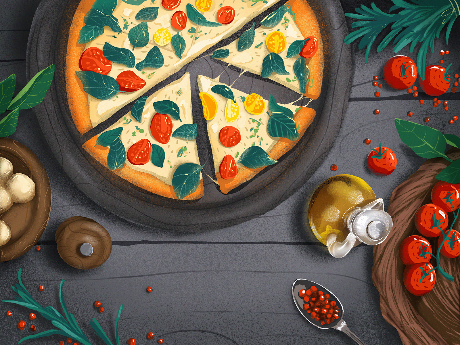 Italian food illustration
