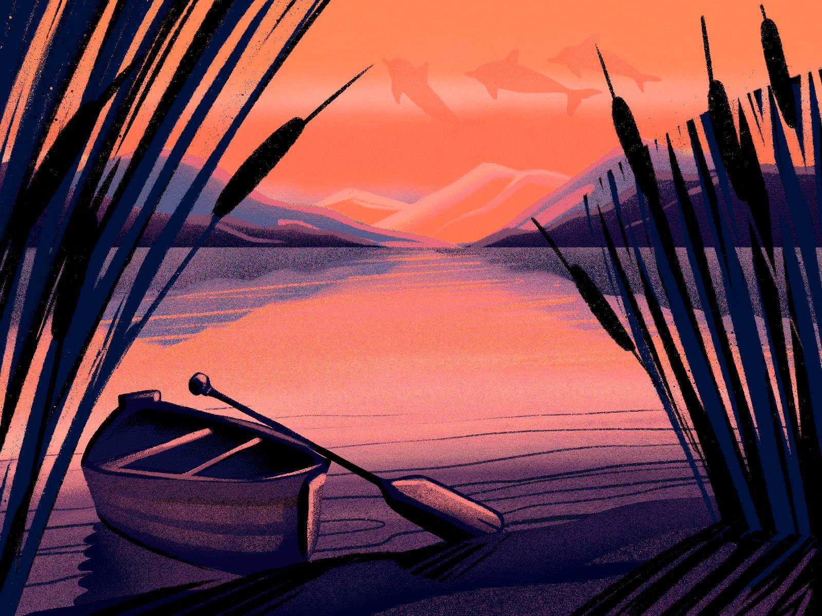 sunset river illustration