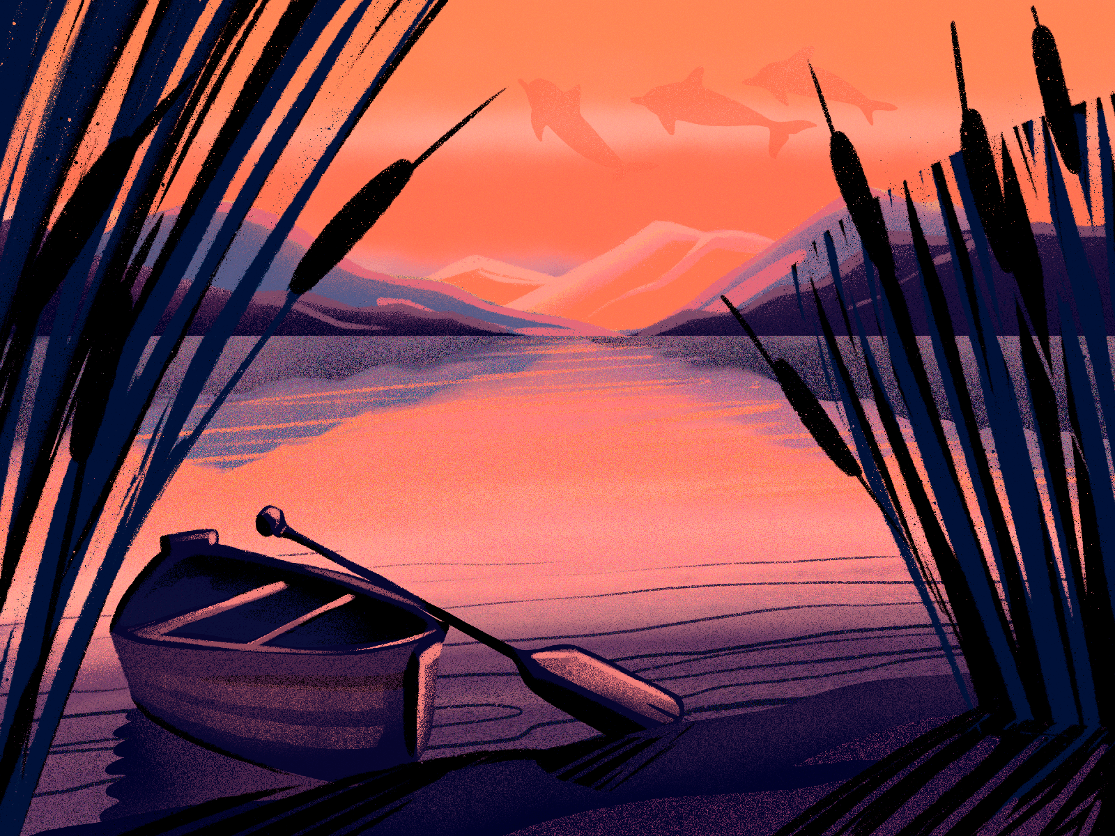 sunset river illustration