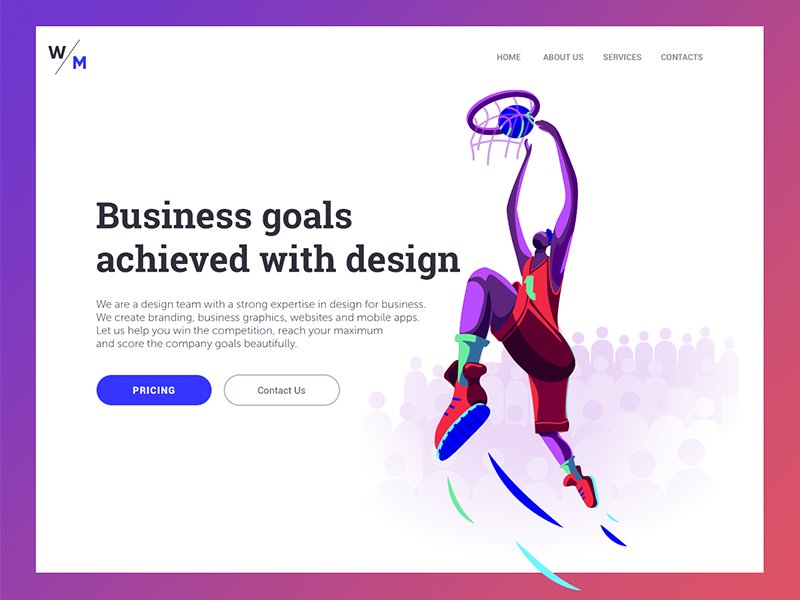 landing page digital illustration design