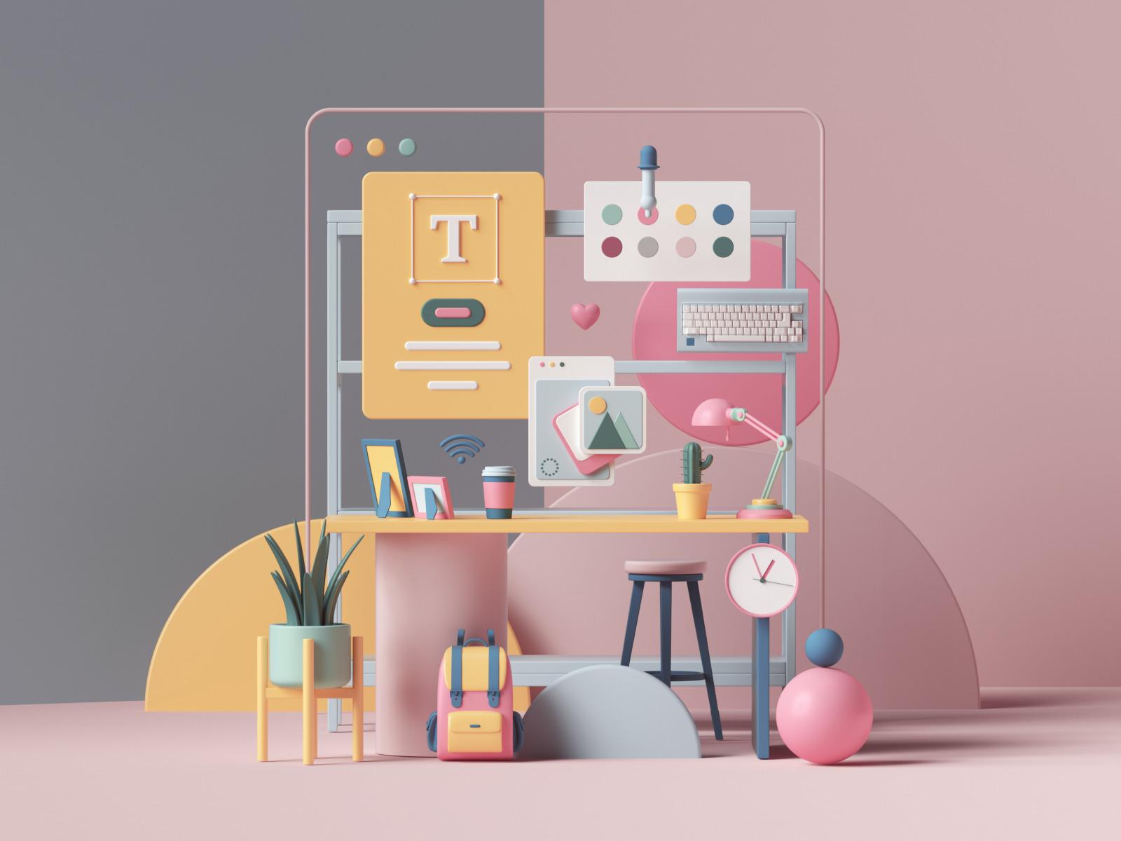 3d illustration workspace