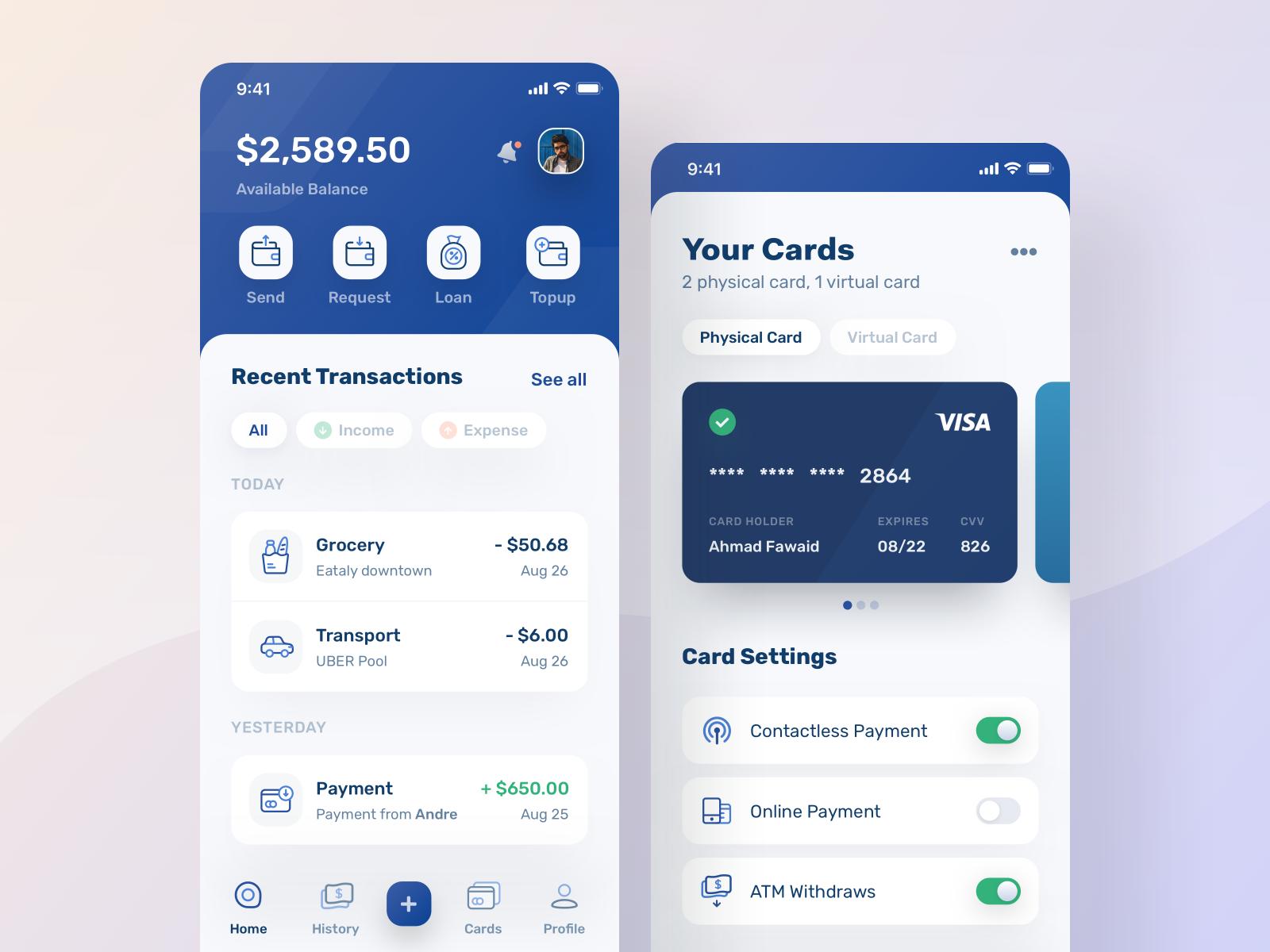 finance mobile app design