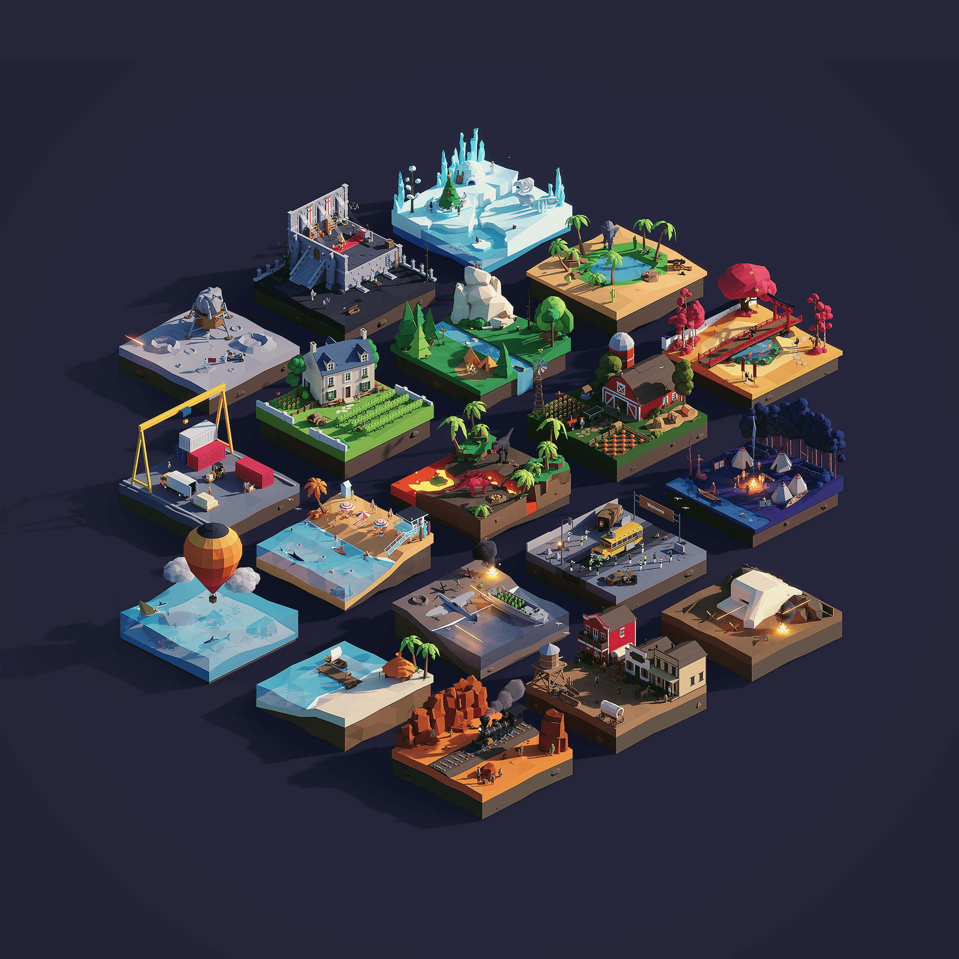 low poly worlds illustration