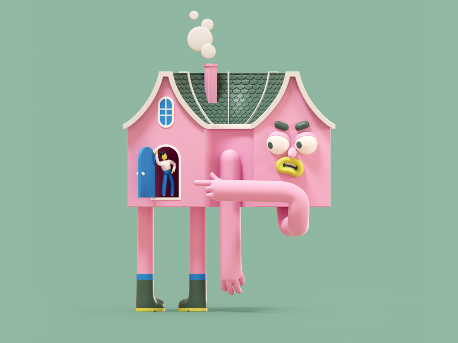 stay home illustration 3d