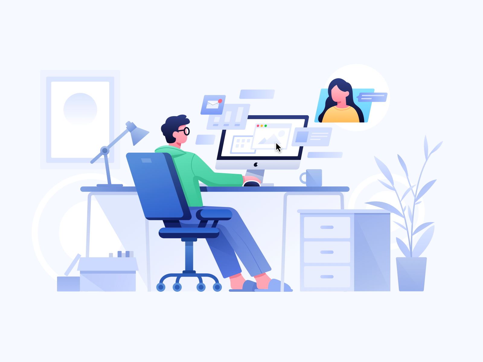 work at home illustration