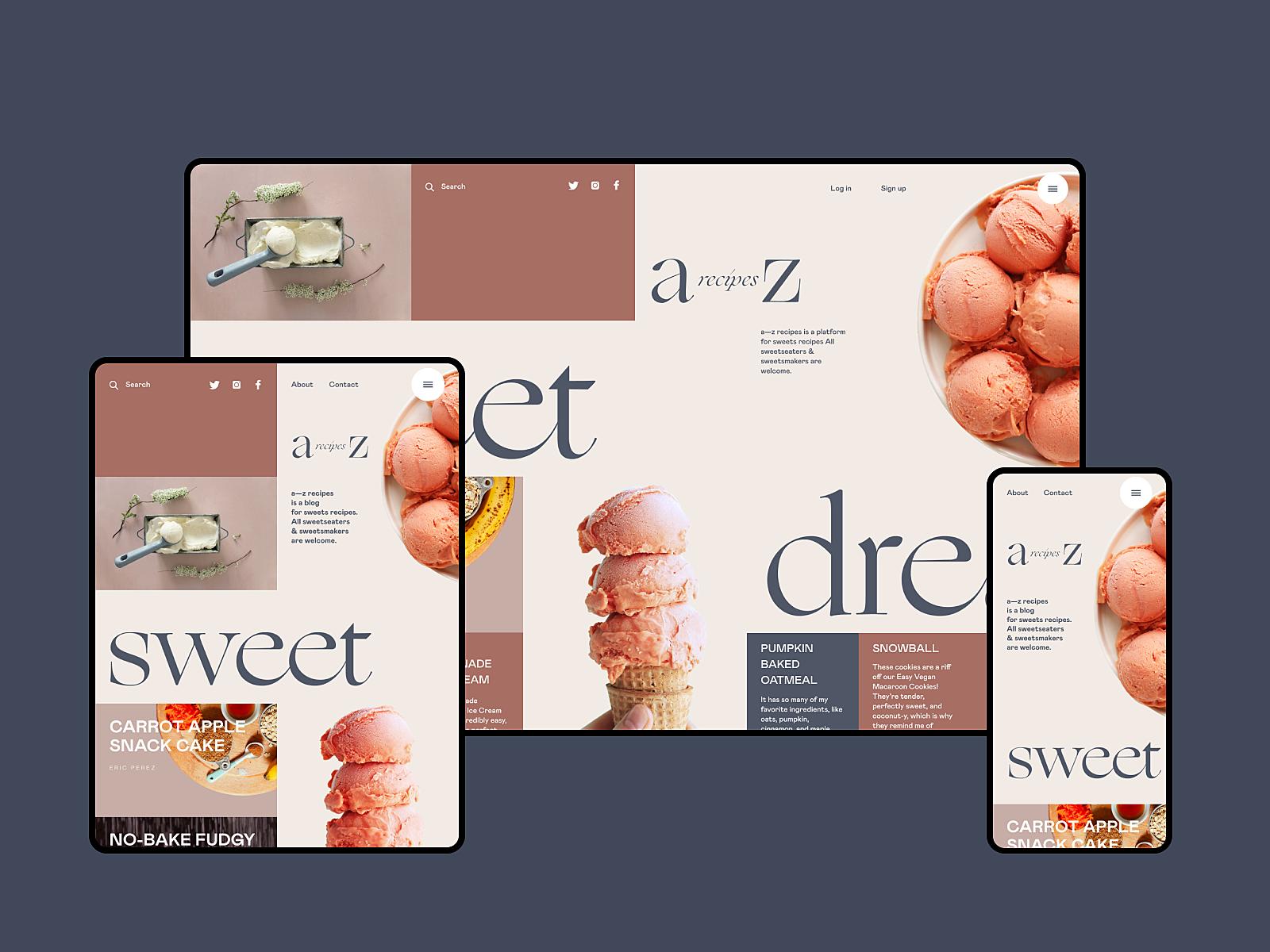 dessert recipe website design