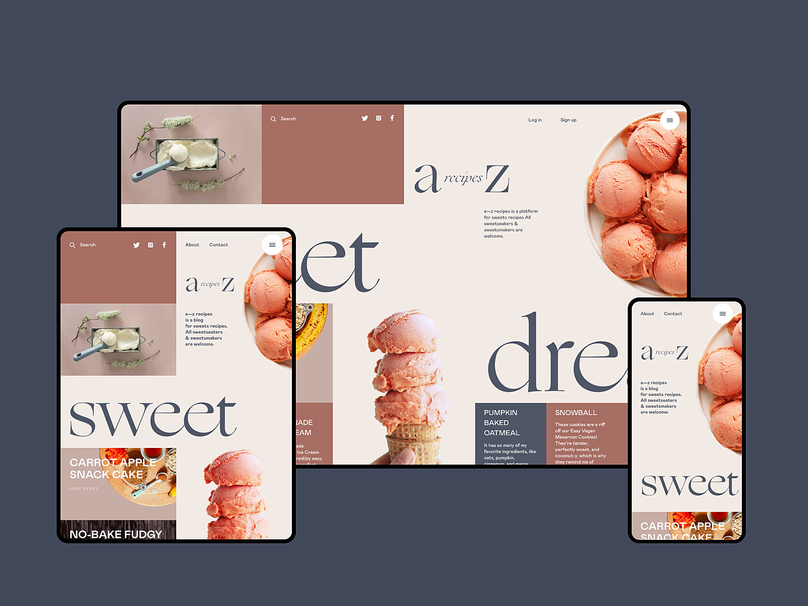 dessert recipe website design