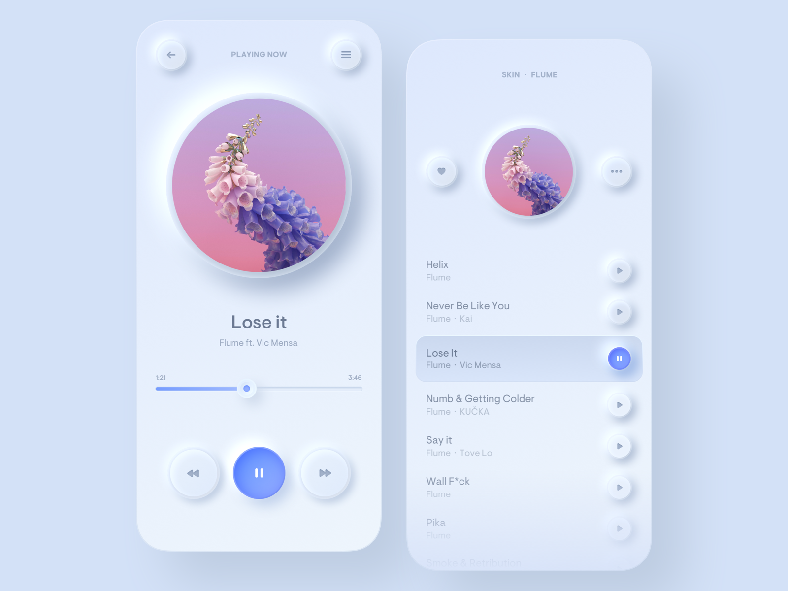 music player app screens design