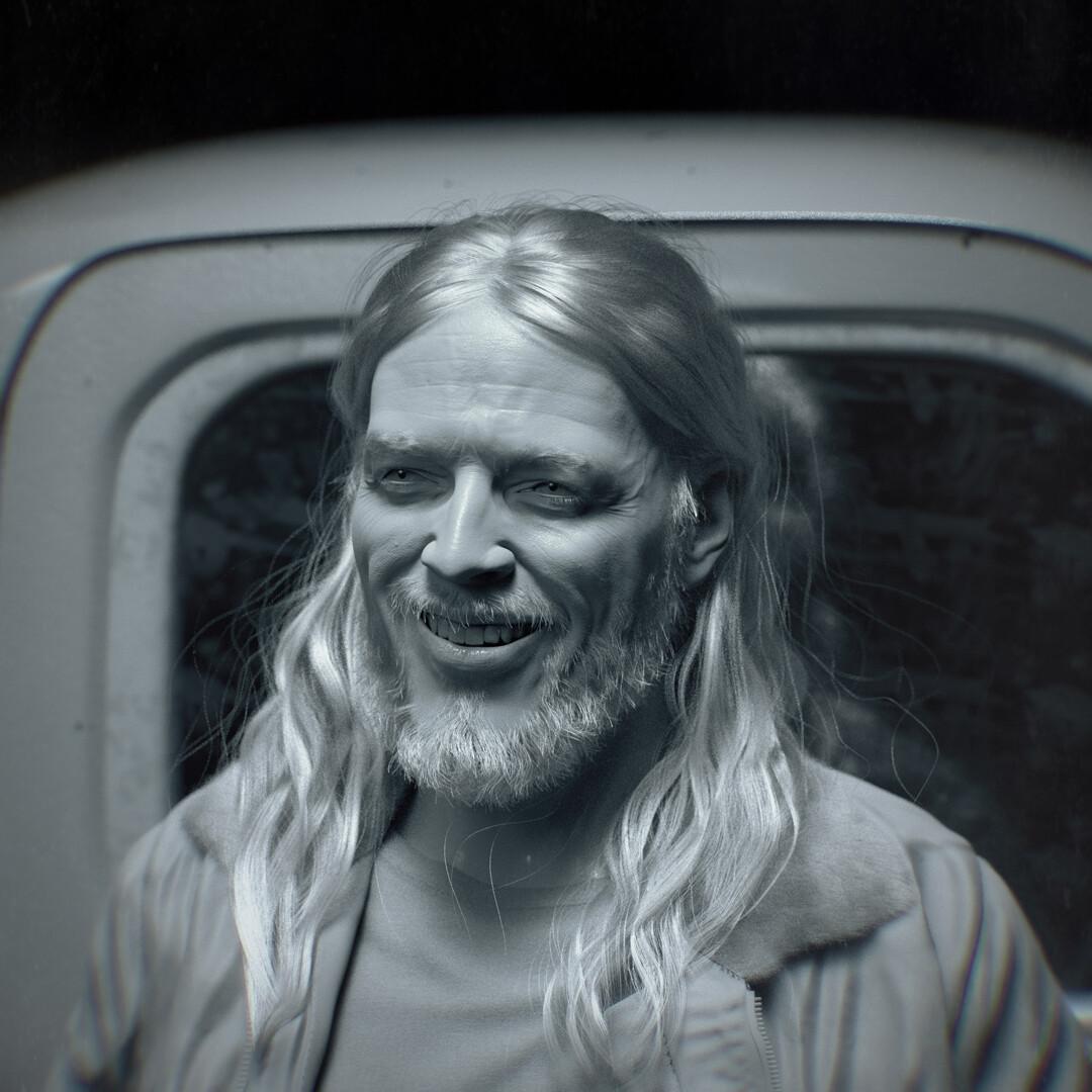 hadi karimi david gilmour 3D portrait