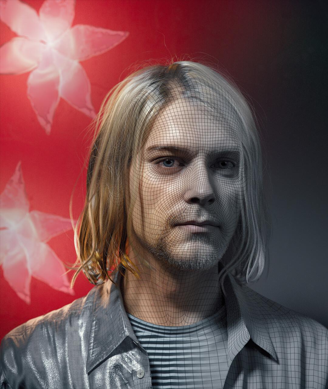 hadi karimi kurt cobain 3d portrait