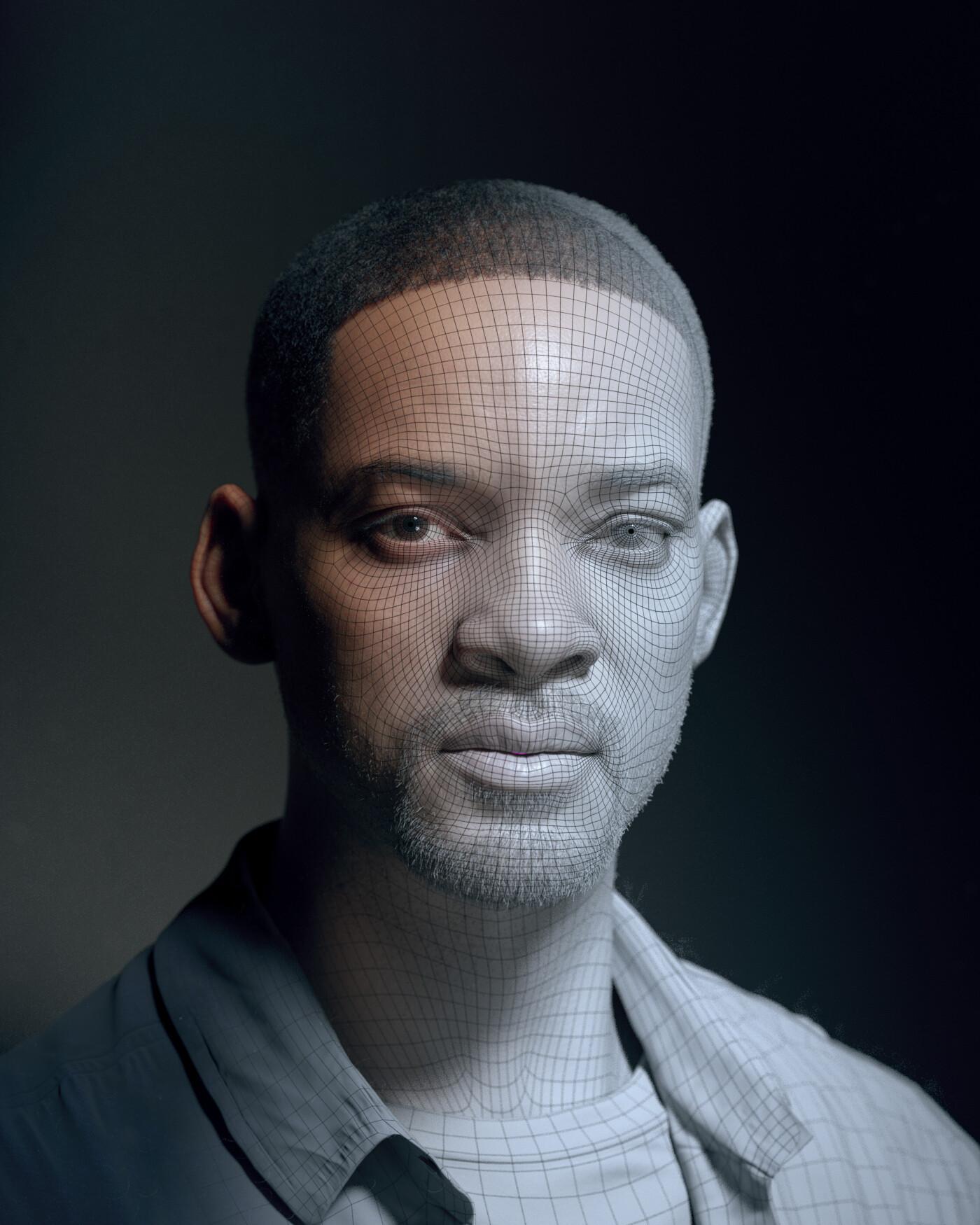hadi karimi will smith 3D portrait
