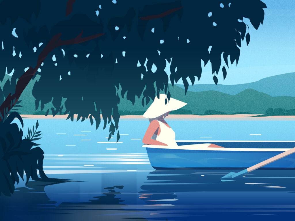 summer lake illustration