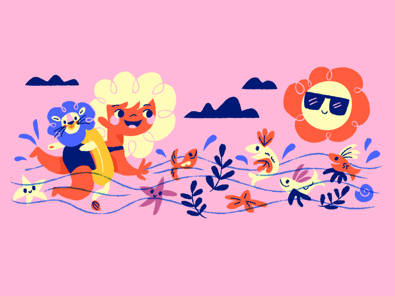 summer swimming illustration