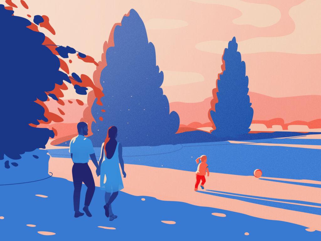 summer walk illustration