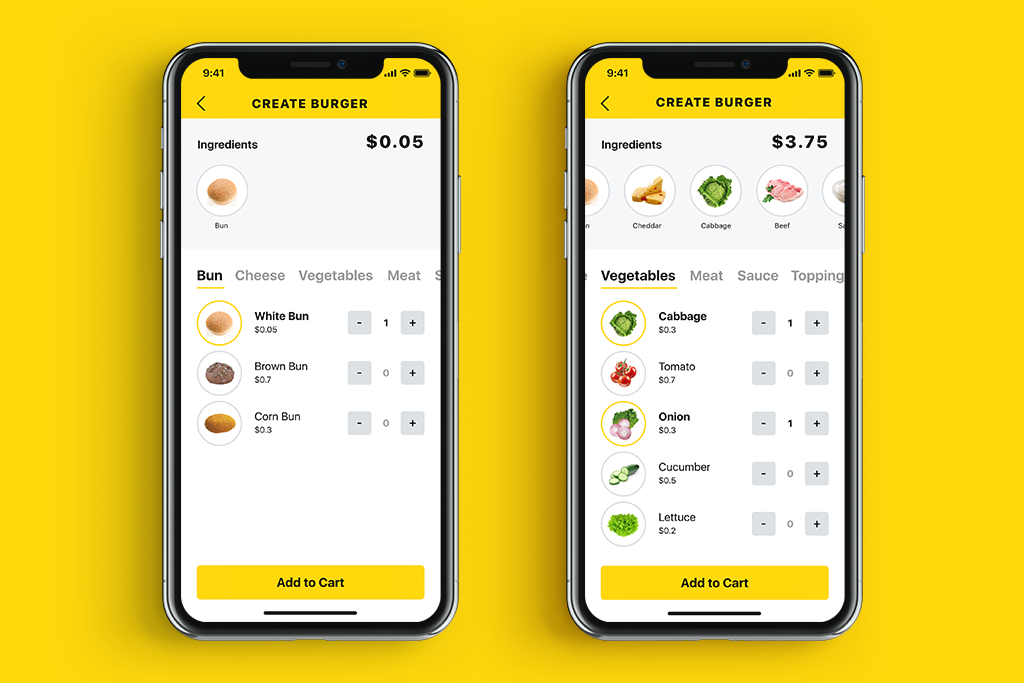 tasty burger app ui design-tubik-studio