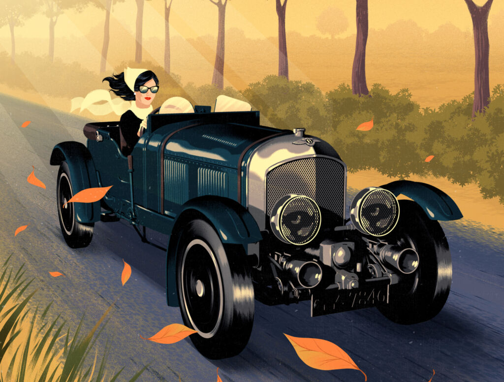 autumn car illustration
