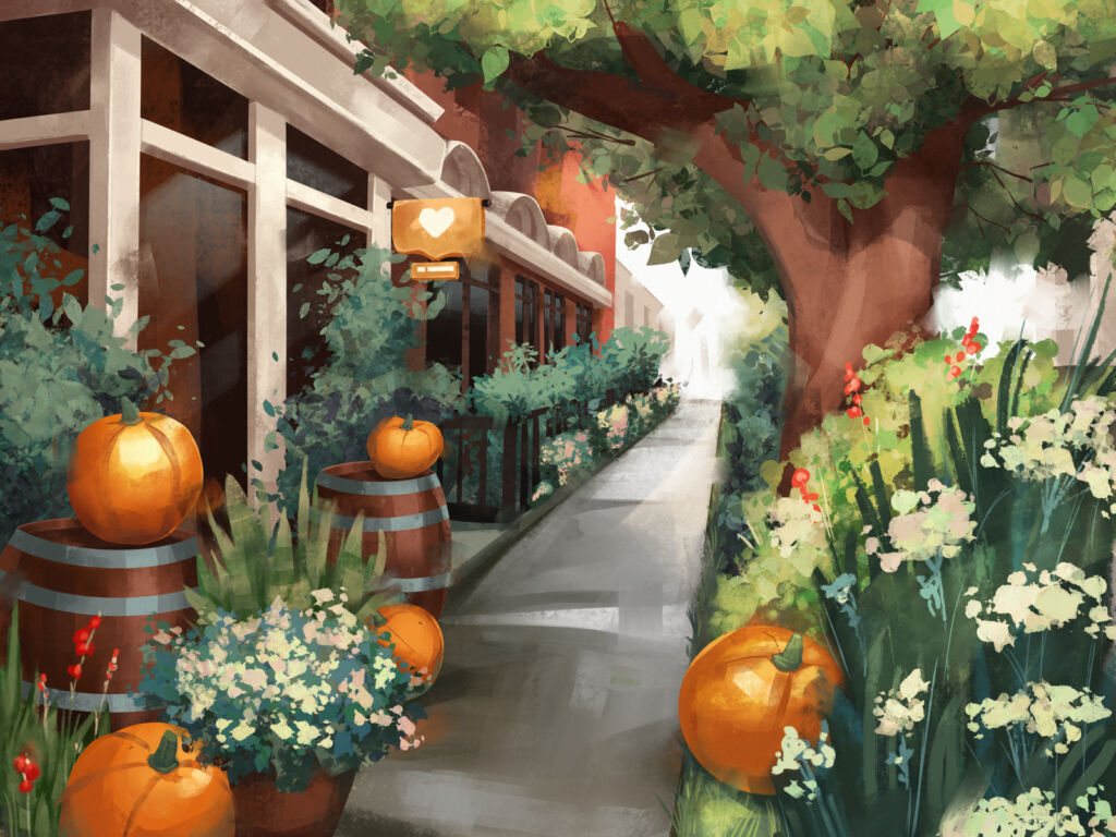 cosy october tubikarts illustration