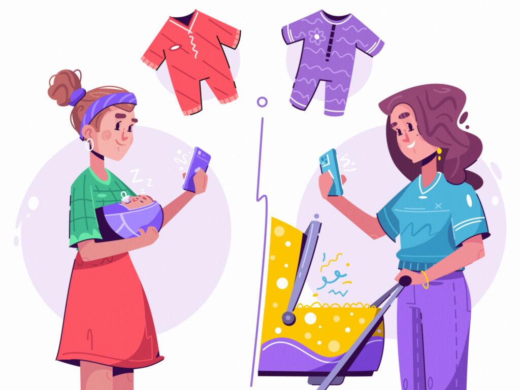 baby shopping illustration