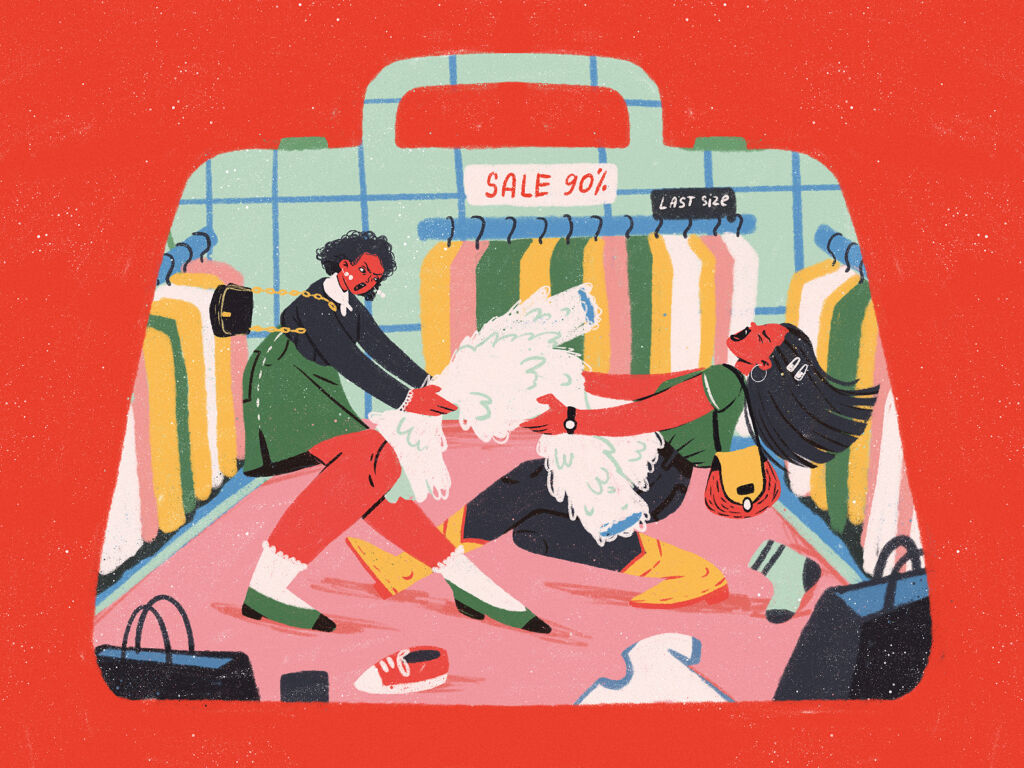 black friday shopping madness illustration