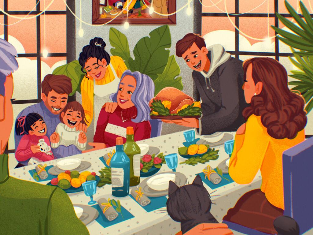 thanksgiving dinner illustration tubikarts