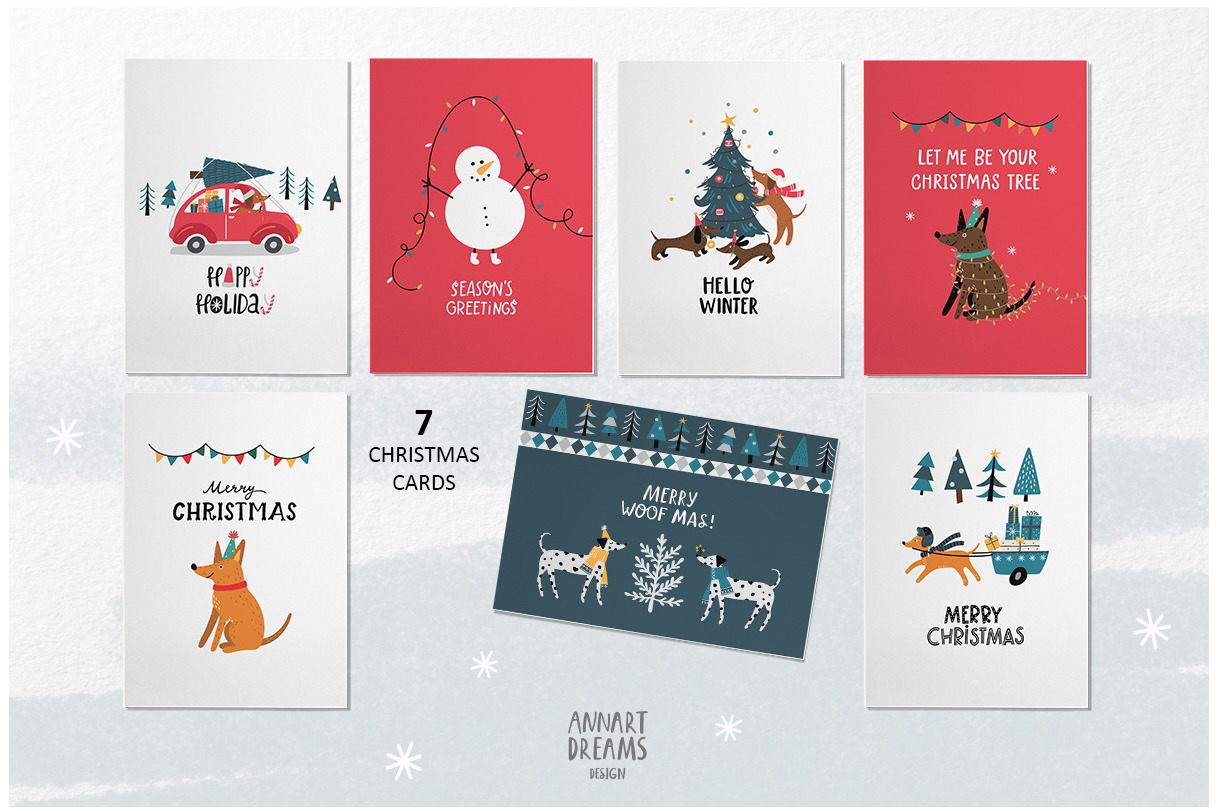 christmas card dogs illustrations