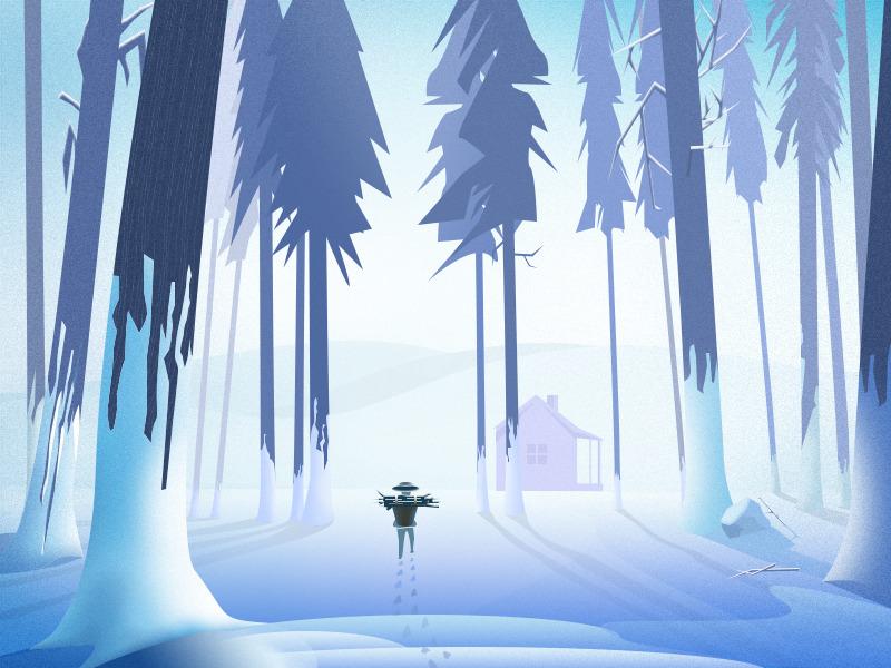 forest snow illustration