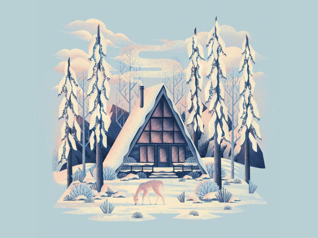 forest winter illustration