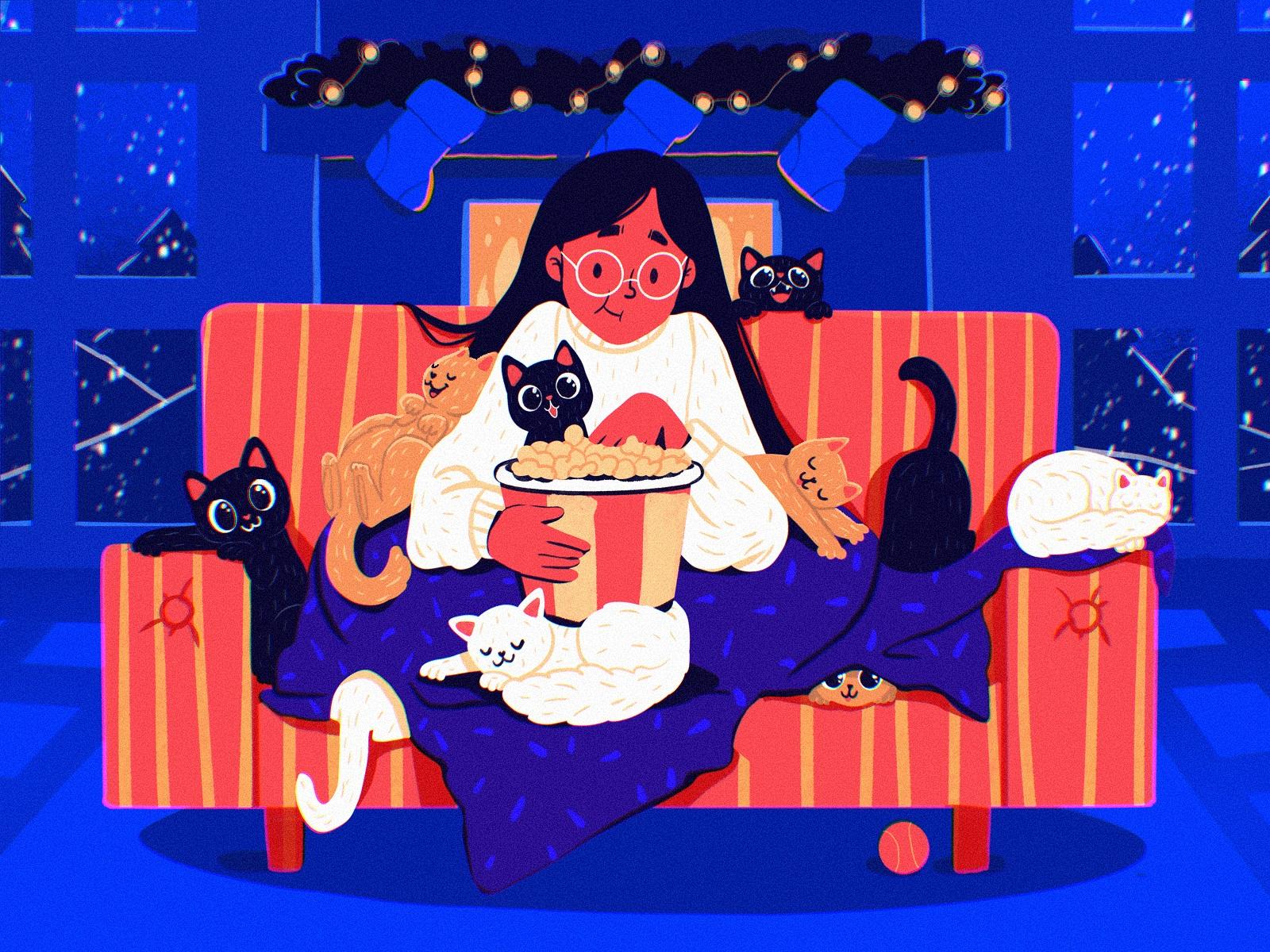 holiday cats illustration tubikarts