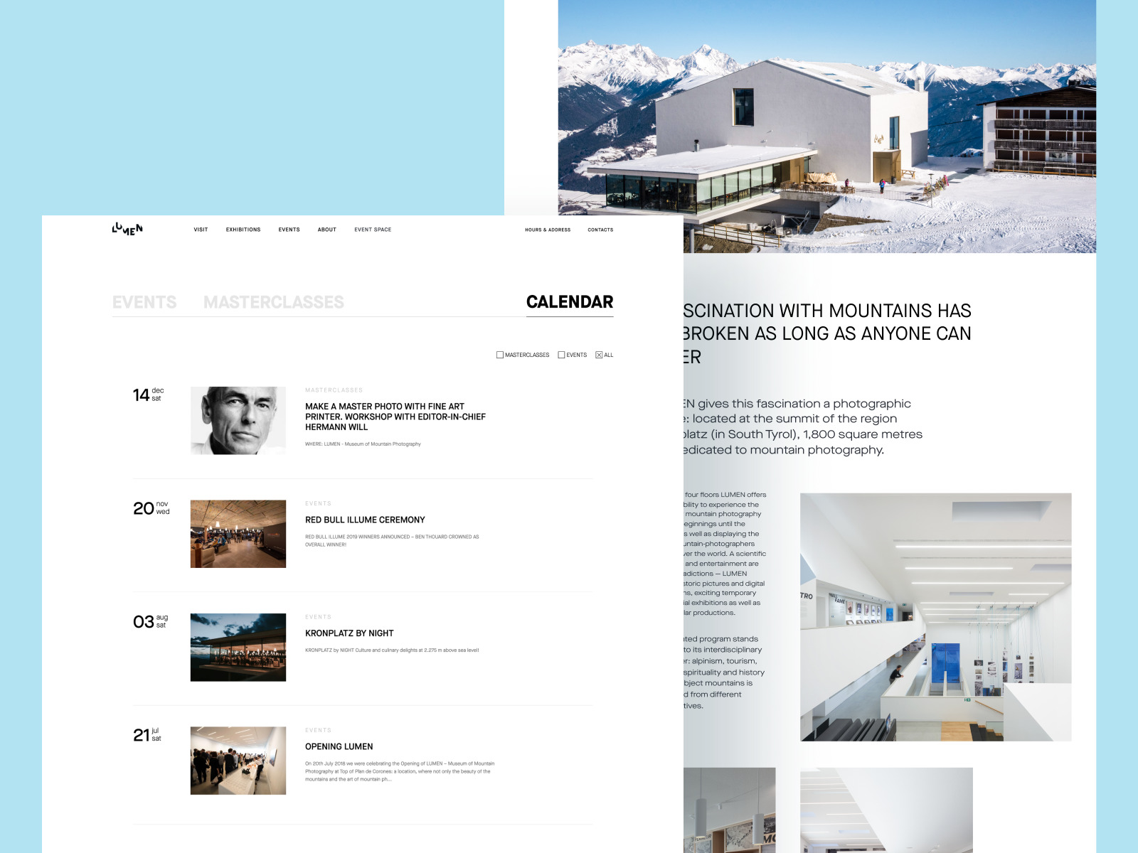 lumen museum website calendar page