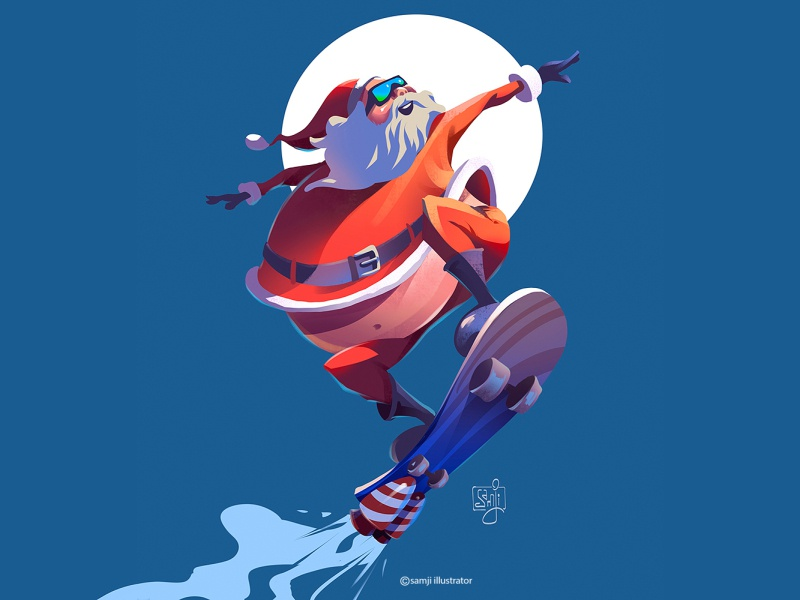 santa snowboarding illustration