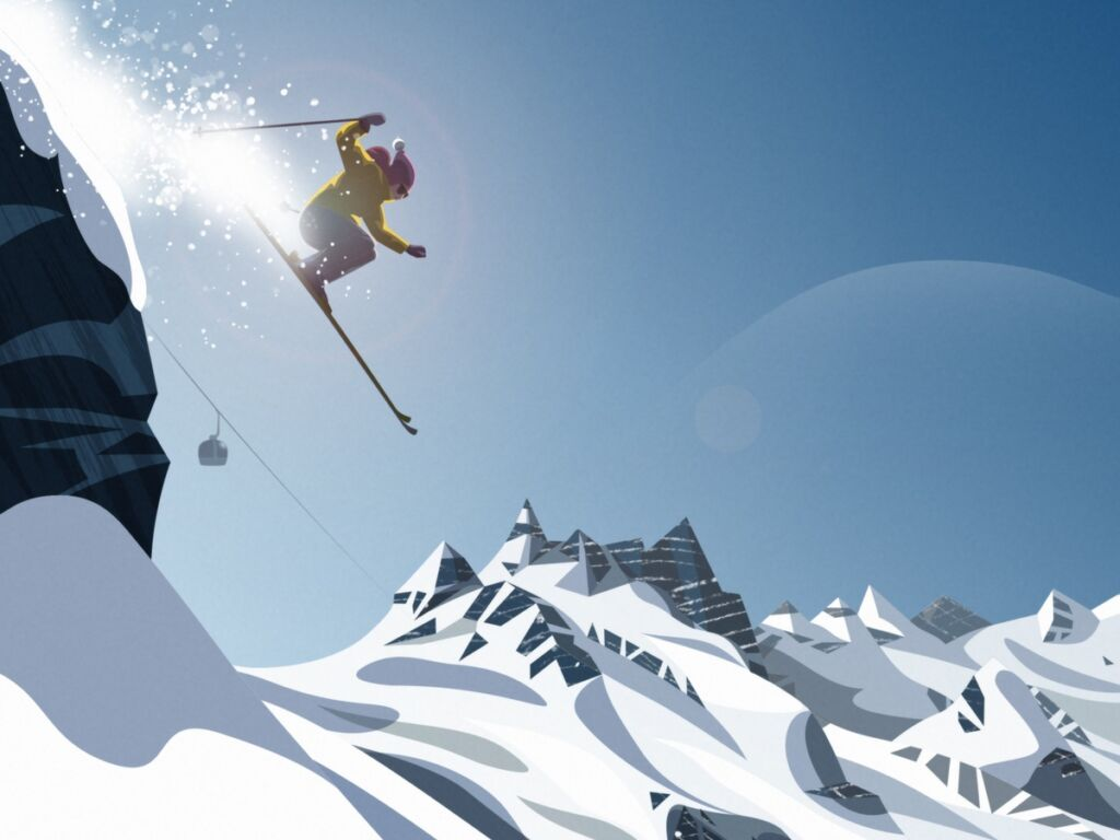 skiing winter illustration
