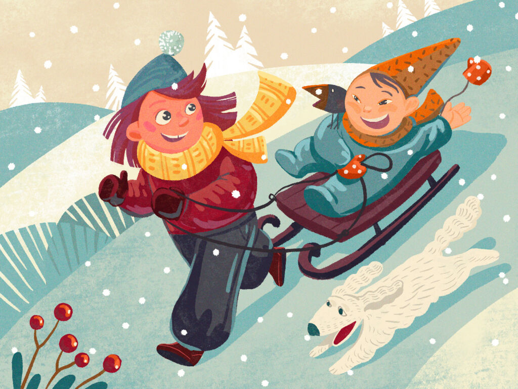 sledging winter illustration