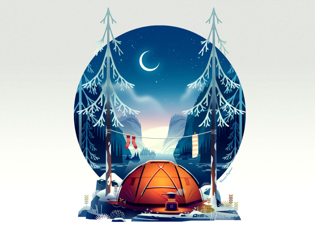 winter forest illustrations