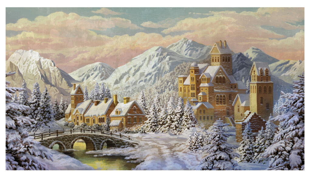winter illustration architecture