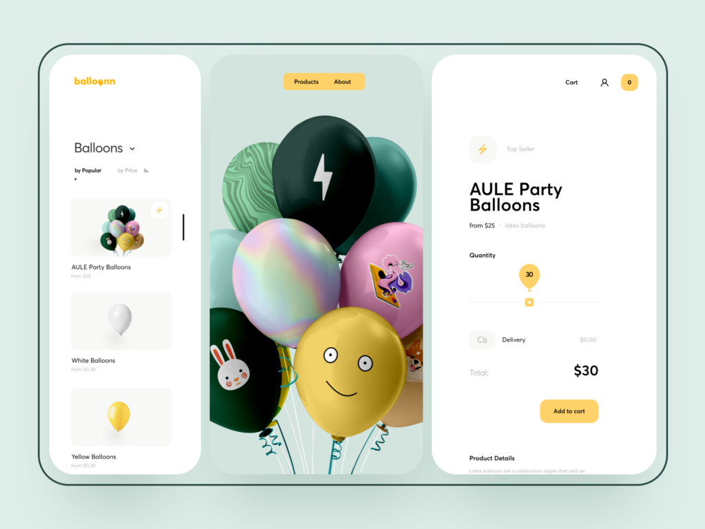 website design balloon ecommerce