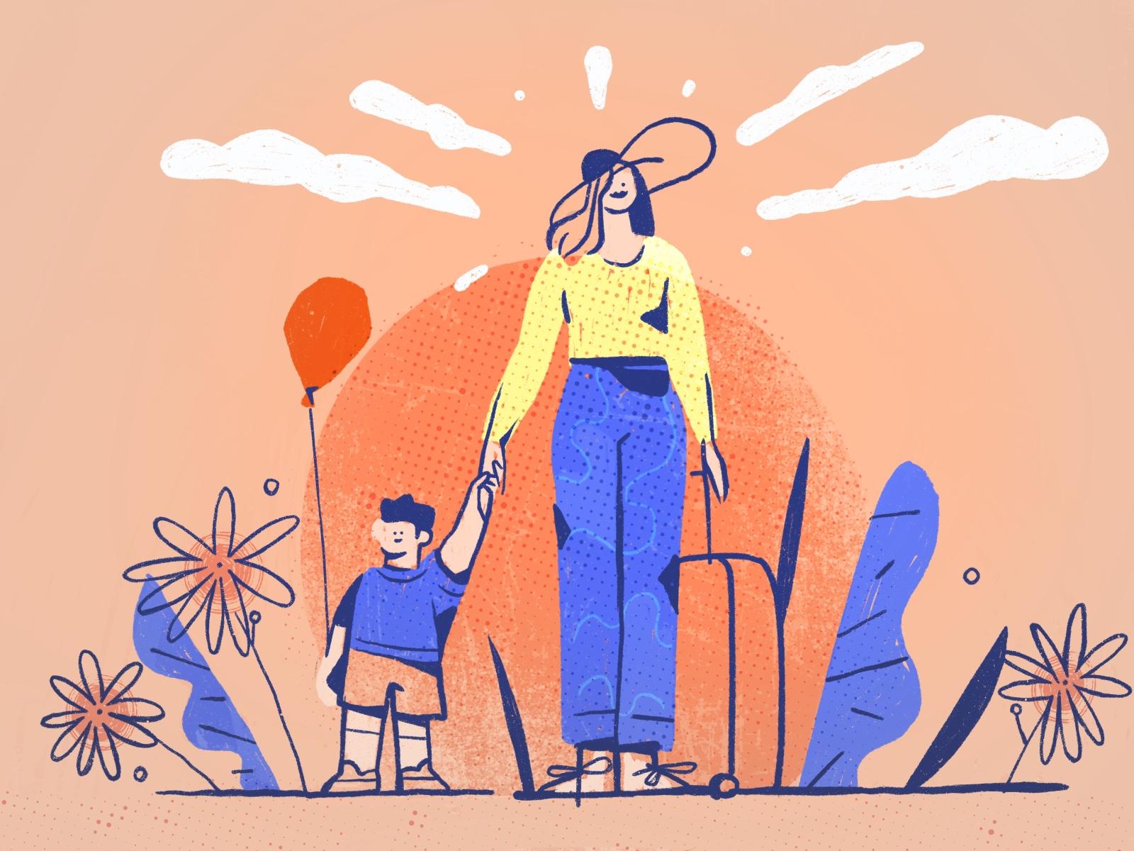 mothers kids illustration