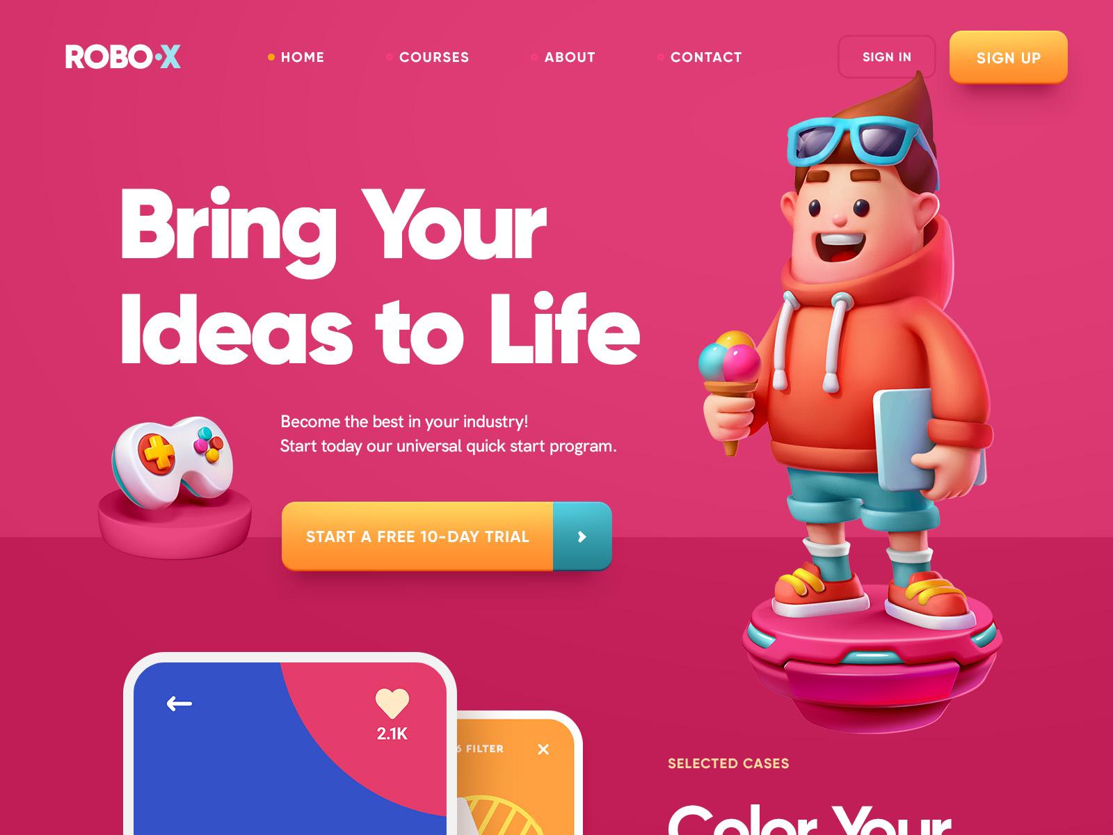 30 интересных веб концептов с 3D графикой
