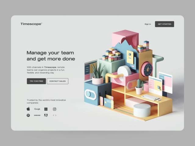 30 цікавих веб концептів з 3D графікою