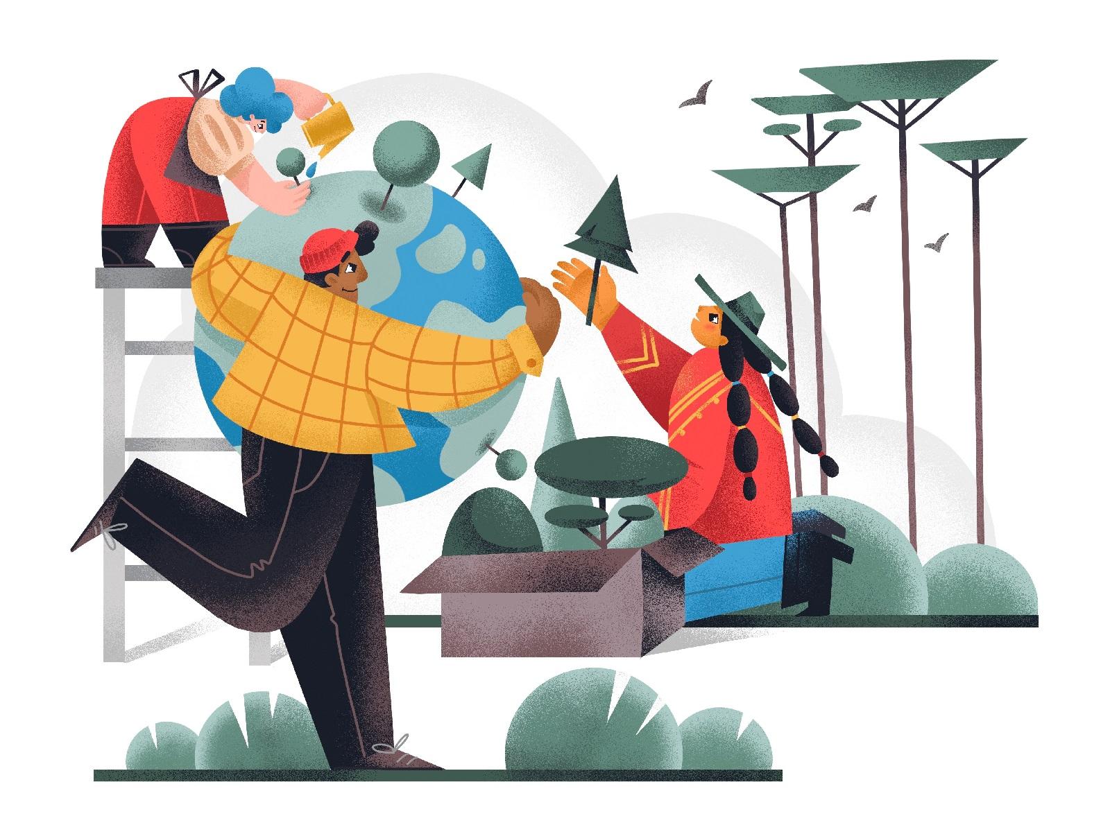 День Земли: иллюстрации, посвященные заботе о нашей планете