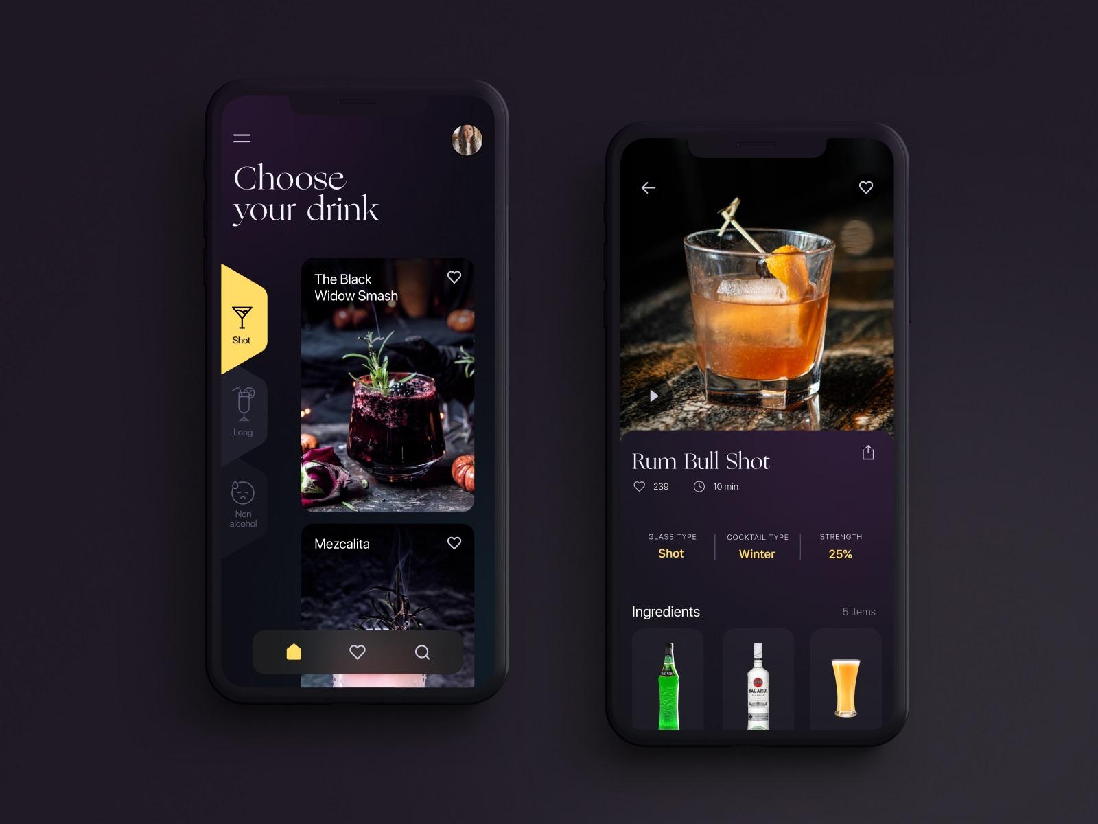 drink guide app tubik design