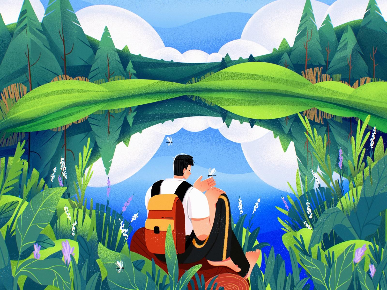 forest summer illustration